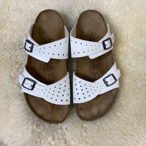 Birkis White Freeport Strap Sandals
